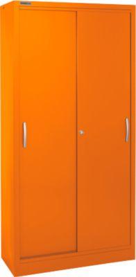 Schuifdeurkast, 5 ordnerhoogtes, B 1200 mm, oranje RAL 2004, 5 ordnerhoogtes.