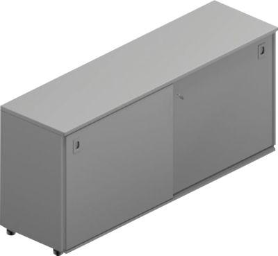 Schuifdeurkast, b 1600 x d 450 x h 730 mm, grijs