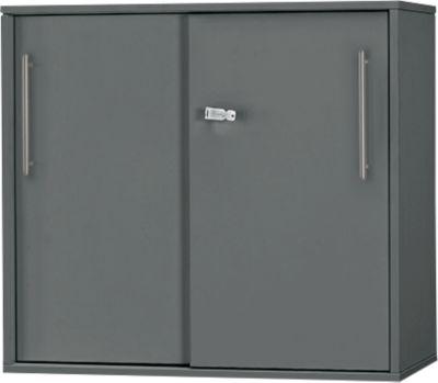 Schuifdeurkast Inbedrijfstelling, op tafelhoogte, afsluitbaar, B 800 x D 420 x H 726 mm, grafiet/grafiet, op tafelhoogte.