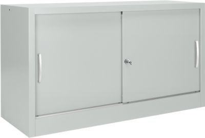 Schuifdeurkast MS iCONOMY, staal, 2 OH, b 1200 x d 400 x h 865 mm, lichtgrijs RAL 7035