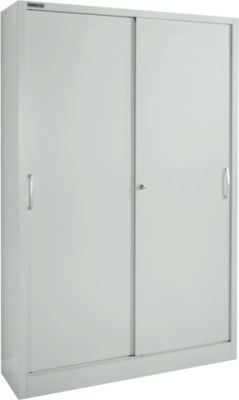 Schuifdeurkast MS iCONOMY, staal, 5 OH, b 1200 x d 400 x h 1935 mm, lichtgrijs RAL 7035
