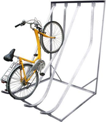 Schuin, hoog fietsenrek SW4, verzinkt, lengte 1400 mm, voor 4 fietsen, enkelzijdig