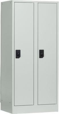 Schulspind, Abteilbreite 300 mm, Sicherheitszylinderschloss, 2 Abteile, lichtgrau/lichtgrau