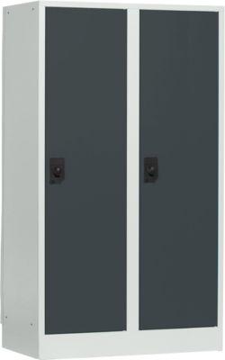 Schulspind, Abteilbreite 400 mm, 2 Abteile, lichtgrau/anthrazit