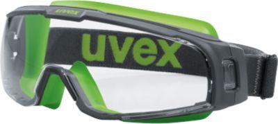 Schutzbrille Uvex u-sonic, EN 166, EN 170, Polycarbonat klar, Rahmen grau/lime, UV 400, 5 Stück