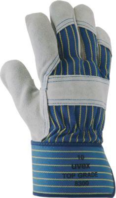 Schutzhandschuh uvex top grade 8300, Rindspaltleder/Baumwolle, EN 388: 4144 X, Gelenk- u. Knöchelschutz, 10 Paar, Größe 9
