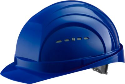 Schutzhelm EuroGuard I/79 4-G, Hochdruck-Polyethylen, DIN EN 397, blau, mit 4-Punkt-Gurtband, Belüftung