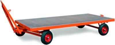 Schwerlastanhänger, 1-Achs-Drehschemel-Lenkung, Vollgummireifen, Tragkraft 2000 kg, 2000 x 1000 mm