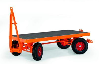 Schwerlastanhänger, 4-Rad-Achsschenkel-Lenkung, Vollgummireifen, Tragkraft 5000 kg, 3000 x 1500 mm