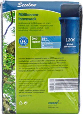 Secolan® ecologische container-vuilniszakkenmet platte bodem, 120 l, 3 stuks