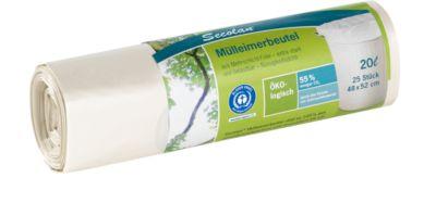 Secolan® Ecologische vuilnisbak zakken, 20 liter, wit, 25 stuks