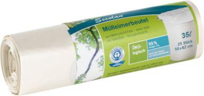 Secolan® Mülleimerbeutel, Material Recycling-Polyethylen, 35 Liter, weiß, 20 Stück