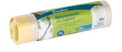 Secolan® Mülleimerbeutel, mit Zugband, 35 Liter, weiß, 20 Stück