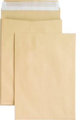 Seitenfaltentaschen, 20 mm, haftklebend, DIN C4, 100 Stück, natronbraun