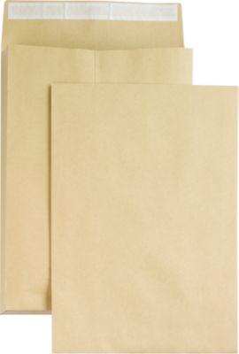 Seitenfaltentaschen, 40 mm, haftklebend, DIN B4, 100 Stück, natronbraun