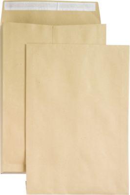 Seitenfaltentaschen, 40 mm, haftklebend, DIN E4, 100 Stück, natronbraun