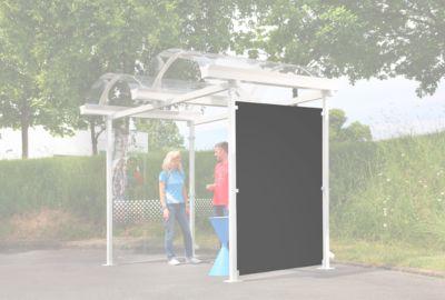 Seitenwand für Bogendach-Raucherüberdachung Modell Berlin