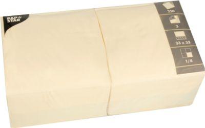 Servetten, 3-laags 330x330 mm, crème, 250 st.