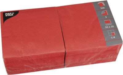 Servetten, 3-laags 330x330 mm, rood, 250 st.