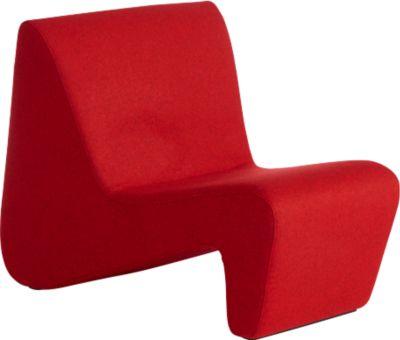 Sessel LinkUp, hochfeste Holzunterkonstruktion, mit Holzfüßen, rot