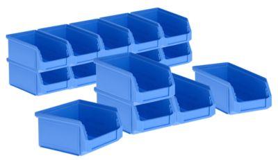 Set 15 magazijnbakken LF 211, kunststof, 0,9 liter, blauw