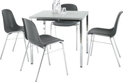 SET 4 Stühle BETA, anthrazit + Tisch