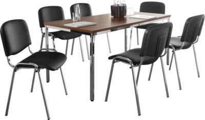 SET 6 Stühle ISO Swing Basic Kunstleder, Gestell Chrom + Tisch 1600 x 800 mm,  Nussbaum-Dekor