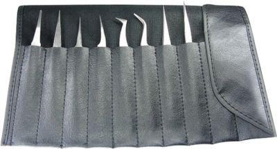Set 8 antimagnetische pincetten in kunststof zakje