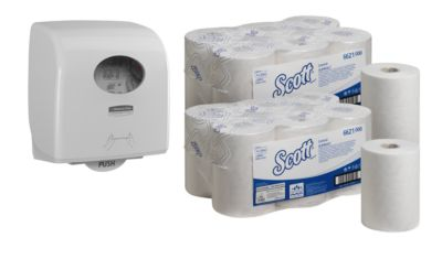 Set avantageux: Scott control Slim  rouleau de papier essuie main + distributeur