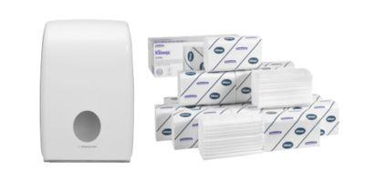 Set économique essuie-mains enchevêtrés Kimberly Clark Kleenex Ultra Interfold + distributeur GRATUIT