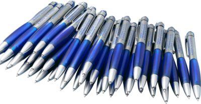 SET Kugelschreiber Rubber Grip, 100teilig, blau, inkl. einfarbigem Werbedruck