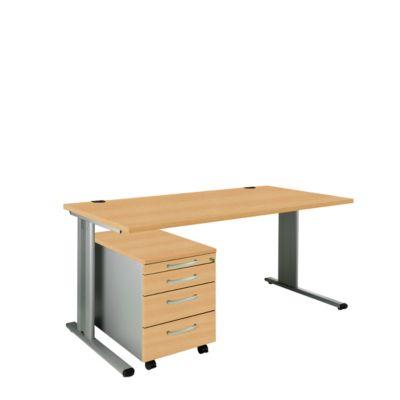 Set PLANOVA BASIC: bureau B 1600 mm + verrijdbare ladeblok 1233, beukendecor/blank alu
