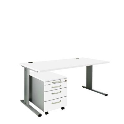 SET PLANOVA BASIC, Schreibtisch+ Rollcontainer, weiß/weißalu