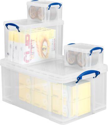 Set van 4 kuststof boxen Really Useful Boxes, transparant, incl. deksel
