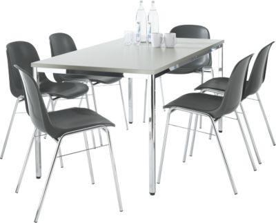 Set van 6 Beta stoelen antraciet + tafel