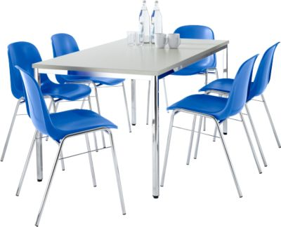 Set van 6 Beta stoelen blauw + tafel