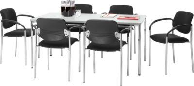 Set vergadertafel B 1600 x D 800 mm + 6 stapelbare bezoekersstoelen Styl met armleuningen & stoffen bekleding, vergadertafel lichtgrijs