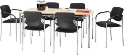 Set vergadertafel B 1600 x D 800 mm + 6 stapelbare bezoekersstoelen Styl met armleuningen & stoffen bekleding, vergadertafel Maple Dec.