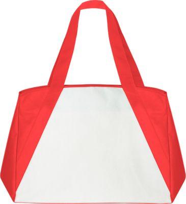 Shopper BIG-ONE, Non-Woven Vliesgewebe, lange Schultergurte, mit Boden- & Seitenfalte, weiß/rot