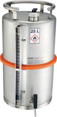 Sicherheits-Standgefäße, aus Edelstahl, Zapfhahn und Füllstandanzeige, 25 l, ø 315 x H 530 mm