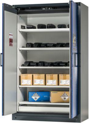 Sicherheitsschrank Battery Store 1200, 5 Gitter + 1 Bodenauffangwanne, B 1193 x T 615 x H 1953 mm