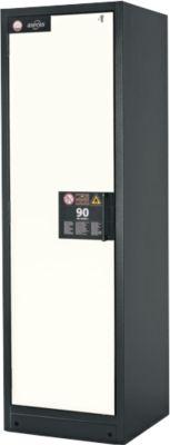 Sicherheitsschrank Typ 90, B 600 mm, Tür links, 3 Böden, reinweiß