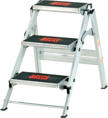 Sicherheitstreppe, ohne Bügel, aluminium, 3 Stufen