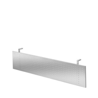 Sichtblende für Schreibtische, Metall, gelocht, silberfarben einbrennlackiert, B 1600 mm