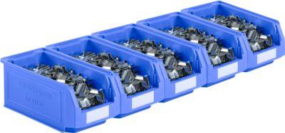 Sichtlagerkästen Serie LF421 SSI Schäfer, stapelbar, 7,8 l, 5 Stück, mit Griffmulde, blau