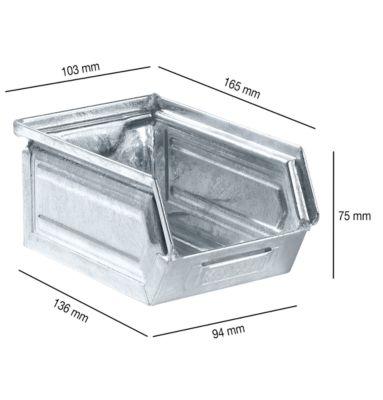 Sichtlagerkasten 14/7-5, Stahl, 0,9 l, verzinkt