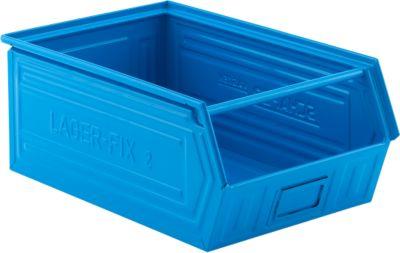 Sichtlagerkasten mit Tragestab LF 14/7-2, Stahl, L 515 x B 322 x H 200 mm, 26 l, blau