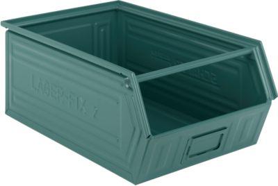 Sichtlagerkasten mit Tragestab LF 14/7-2, Stahl, L 515 x B 322 x H 200 mm, 26 l, graublau