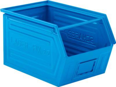 Sichtlagerkasten mit Tragestab SSI Schäfer LF 14/7-2Z, Stahl, L 540 x B 326 x H 300 mm, 41 l, blau