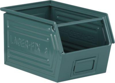 Sichtlagerkasten mit Tragestab SSI Schäfer LF 14/7-3, Stahl, L 352 x B 220 x H 200 mm, 11,5 l, grau-blau